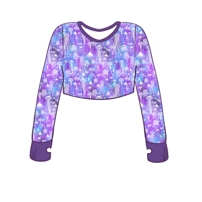 Brainless Blooms Long Sleeve Crop Top w/ Thumb Holes