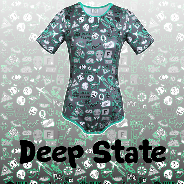 "Deep State Conspiracy Theory Onesie Title Card. A rectangular card featuring a drawn onesie with the Deep State design featured on the print, and faded into the black background of the dark square. The words ""Deep State"" (the name of the product) are in bold, black letters in the middle of the card"
