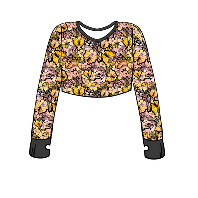 Monarch Madness Long Sleeve Crop Top w/ Thumb Holes