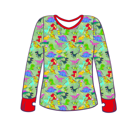 Prehistoric Playmates Long Sleeve Lounge Top w/ Thumb Holes