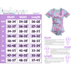 Standard Sizing Chart for the Onesie. Image shows a size chart in inches on the left of the photo. On the right side of the photo, an image of a Onesie is shown with arrows showing where the chest, hips, length, and waist are measured.