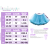 Standard Sizing Chart for the Tulle Tutu. Image shows two size charts to the left of the photo showing the size chart in both inches and centimeters. On the right side of the photo, an image of a teal tutu is shown with arrows showing where the length and waist are measured.