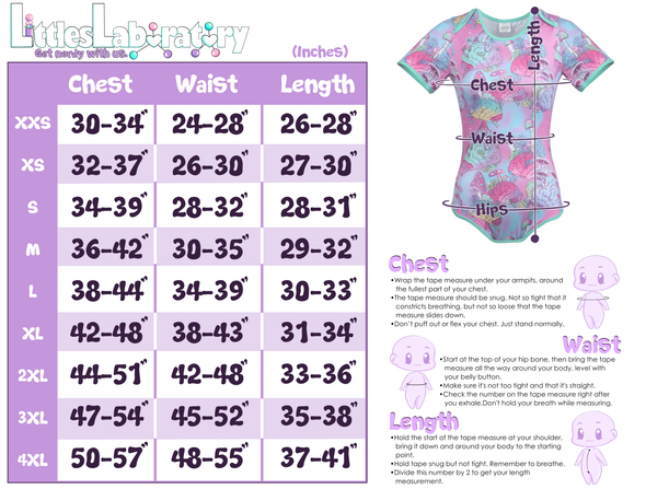 Size chart for Onesies. Includes instructions on how to measure your chest, waist, hips and length.