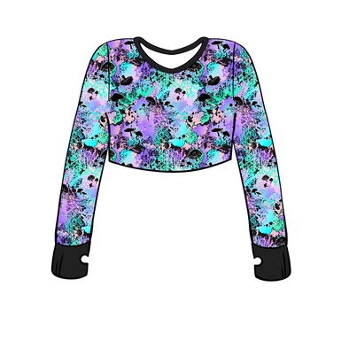Spores Long Sleeve Crop Top w/ Thumb Holes