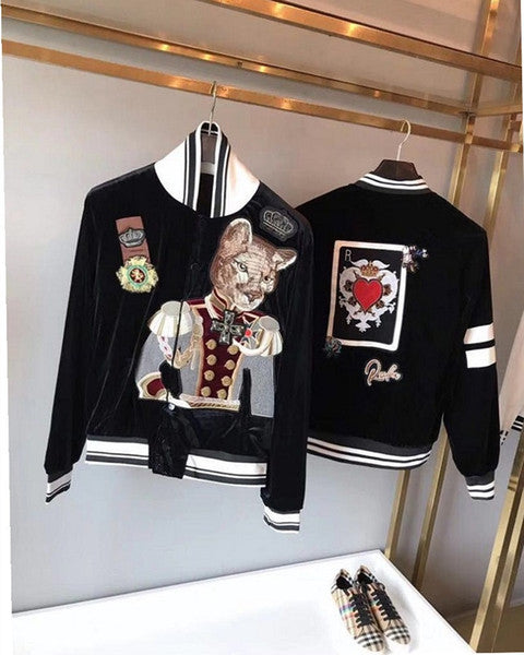 2018 tide brand autumn and winter new heavy industry embroidery crown duke dog velvet jacket coat couple models fashion baseball uniform
