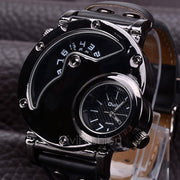 Men's Stainless Steel Leather Band Analog Quartz Clock Wrist Watch VVF