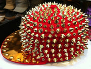 HOT!! Hedgehog Punk Hiphop Unisex Hat Gold Spikes Spiky Studded Cap