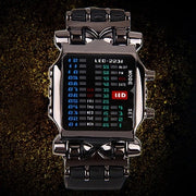 Boys Men's Fashion Binary LED Digital Wristwatch Date Square Dial Casual Plastic Strap Bracelet Watch lovely Style