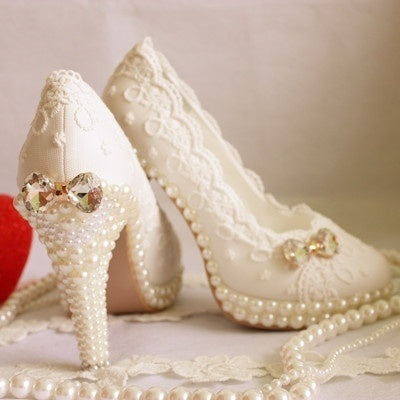 2015 spring and summer woman aesthetic crystal bow pearl shoes wedding shoes bridal white lace party shoe platform big size shoe
