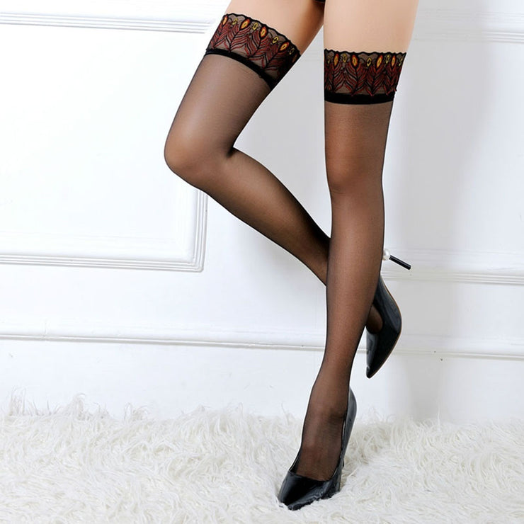 Hottest Elastic Leg Lingerie Anti Slip Embroidery Lace Over Knee Stockings Thigh Highs Peacock Feathers Stocking Silicone Striped