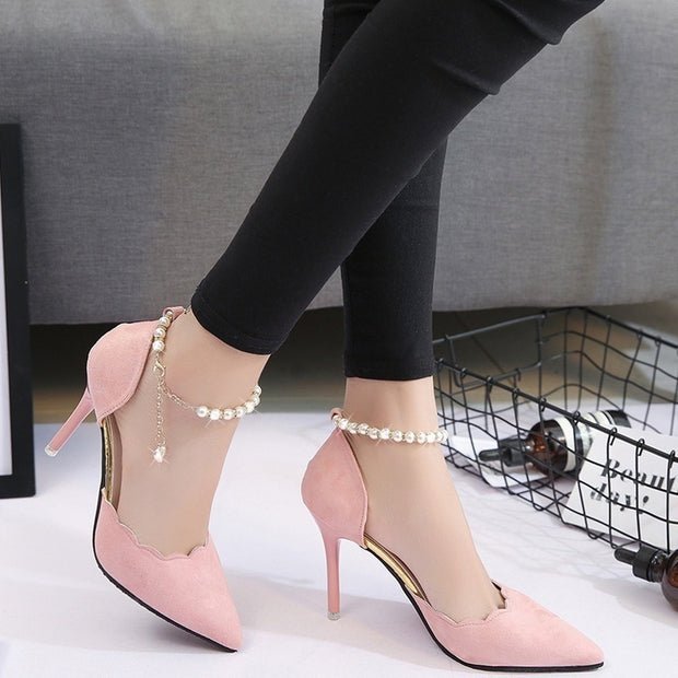 2017 New Spring High Heels Lace Tip Thin Mouth with Beaded Single Shoe Buckle Sandals
