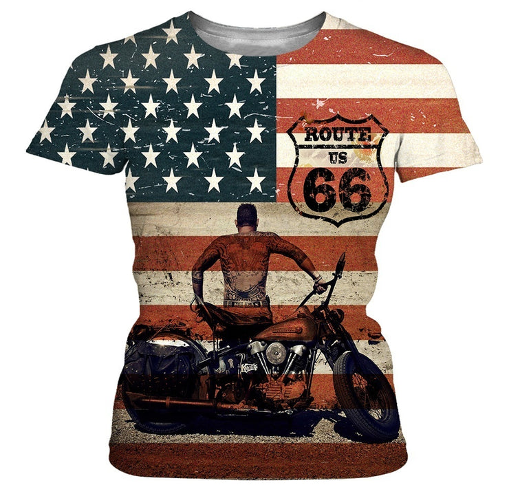 Leisure Men's Harley-Davidson Motorcycle American Flag T-shirts Fashion Punk Style Cotton Short Sleeves