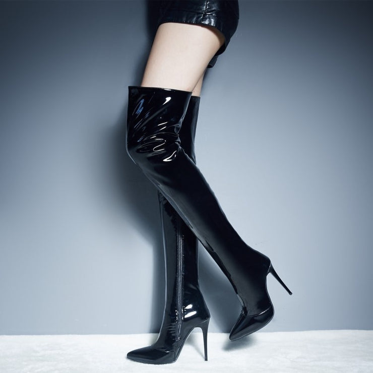 New High Heeled Boots with Pointed Fine BIKER BOOTS SIZE Leather Side Zipper Sexy Thigh Boots 829