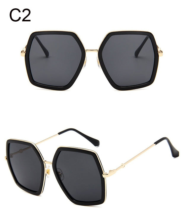 Big Shiny Sunglasses For Women 2018 New Oversized Square Red Green Brand Sun Glasses Designer Fashion Female Shades Oculos