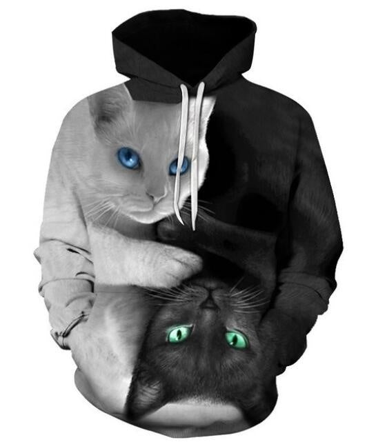 Black White Cats New Fashion Men/women 3d print Sweatshirt Hoodie Unisex funny Street Wear Casual Hip Hop