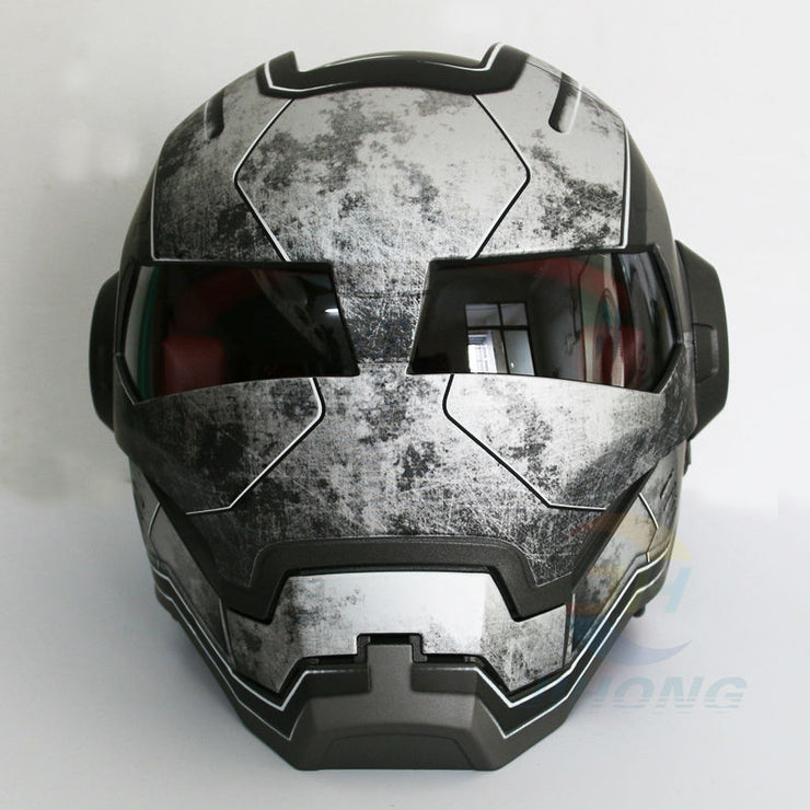 Casco retro de motocross iron man