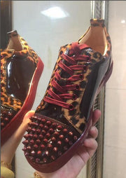 Super Quality Wine Red Bottom Men Sneakers Low Cut Leopard Patent leather Spiked Sneaker,Famous Brand Red Sole Junior Men Flat Shoes