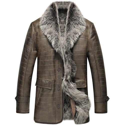 Leather Jacket Man Luxury  Genuine Leather Fur Coat Men Tuscany Wool  Jacket Fur Outerwear TJ08