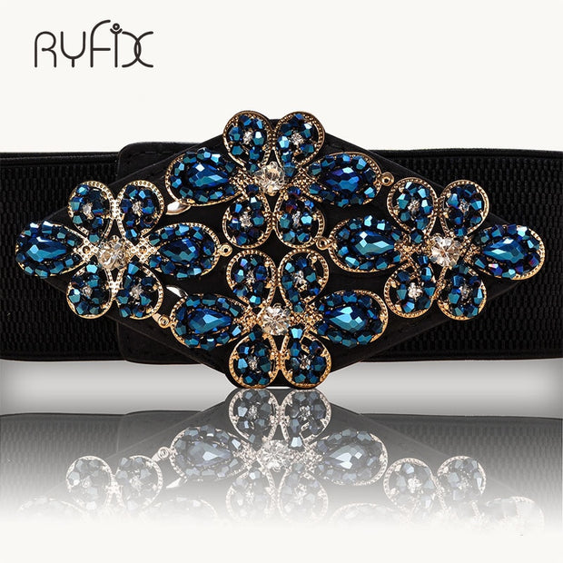 Female Braided Belt Rhinestone Elastic Women Belt Colorful Crystal Decorated Strech Waist Strap Correa Cummerbund BL227