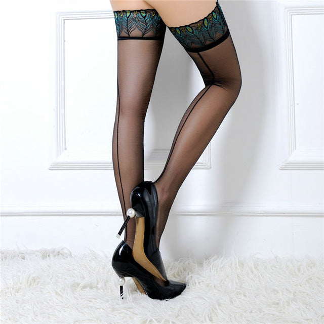 Lace Sexy lingerie fetish stockings Peacock patterm Tights ultra elastic Silk Underwear costumes Sheer Lace Top Hold-Ups