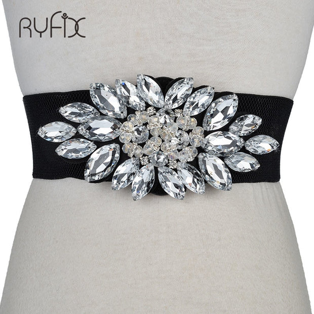 Fashion Women Elastic Wide Corset Belt For Women Glass Crystal Ceinture Ladies Thin Rhinestone inlaid Belt Waist Girdle BL201819