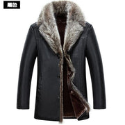 Plus size 5XL Real Raccoon Fur Collar Men Faux Leather Winter Jackets Thicken Coat Jaqueta de couro Jacket Men PU Leather 2018