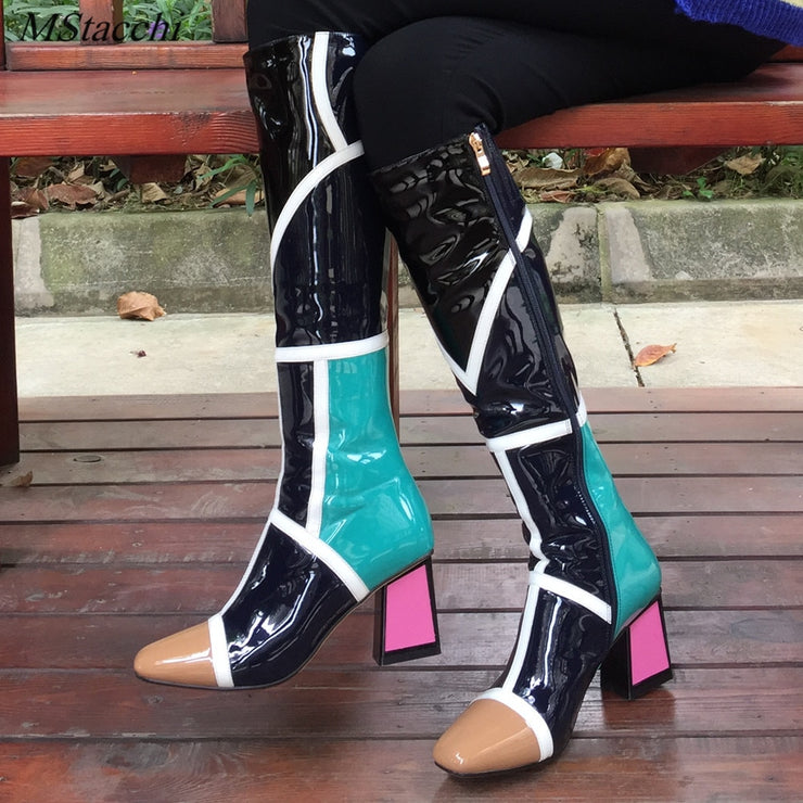 Mstacchi Newest Mixed Color Thigh High Boots Women Thick High Heels Winter Boots ladies Patchwork Square Toe Knee High Boots