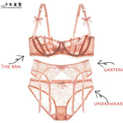 shaonvmeiwu Sexy lace ultra thin half cup transparent ladies underwear garter belt underpants no sponge bra set