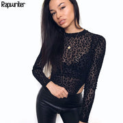 Rapwriter Sexy Perspective Mesh Leopard Bodysuits Women 2019 Spring Stand Collar Long Sleeve Bodycon Sheer Open Crotch Bodysui9