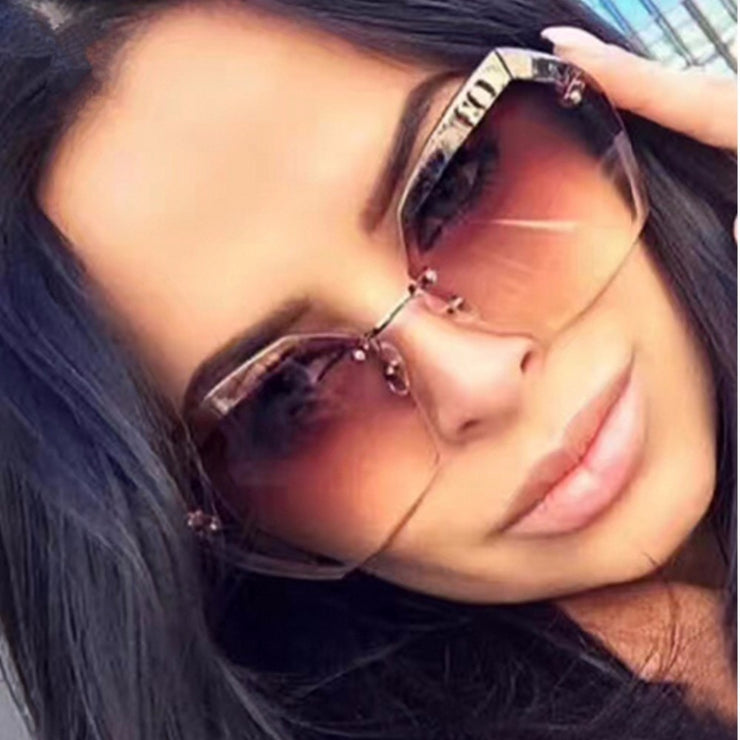 Luxury Vintage Rimless sunglasses women Brand Designer Oversized sunglasses Female sun glasses for lady Mirror Shades UV400