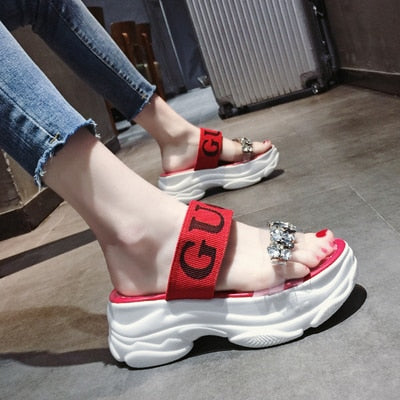Chowaring Luxury Designer Crystal Wedges Chunky Heels Brand Women Sandals Summer Platform Beach Shoes High Heeled Red sandalias