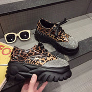 Hot SALE Fashion Ladies Low Leopard platform sneaker shoes Autumn Leather Footwear For Women New Increase Casual Shoes LM-40