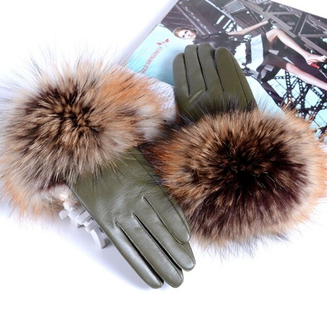New Women Genuine Leather Raccoon Fur Gloves Female 2019 Brand Winter Ladies Fashion Black Red Green Sheepskin Driving Gloves