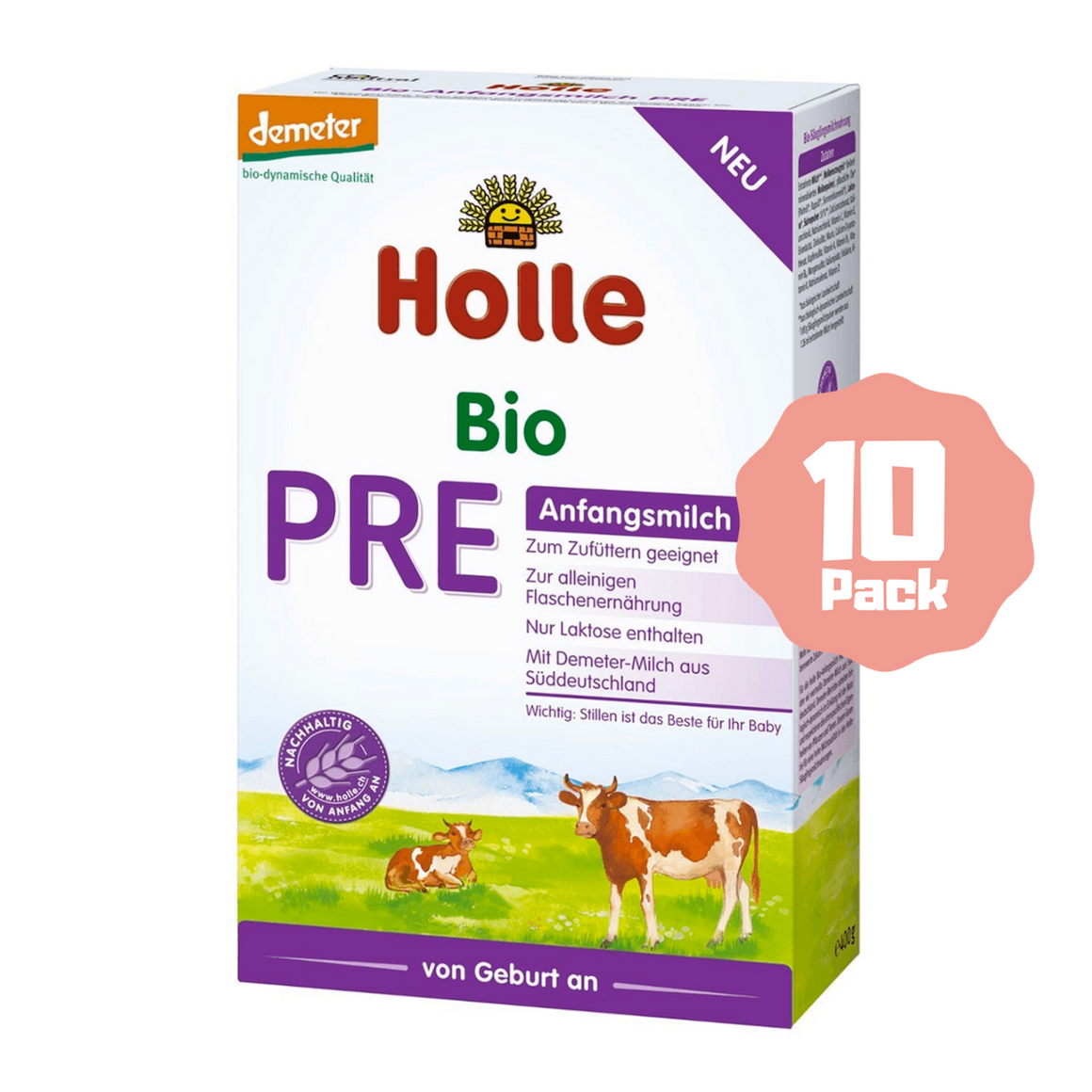 Holle Stage PRE Organic Infant Cow Milk Formula (0 Months+) (10 Pack)