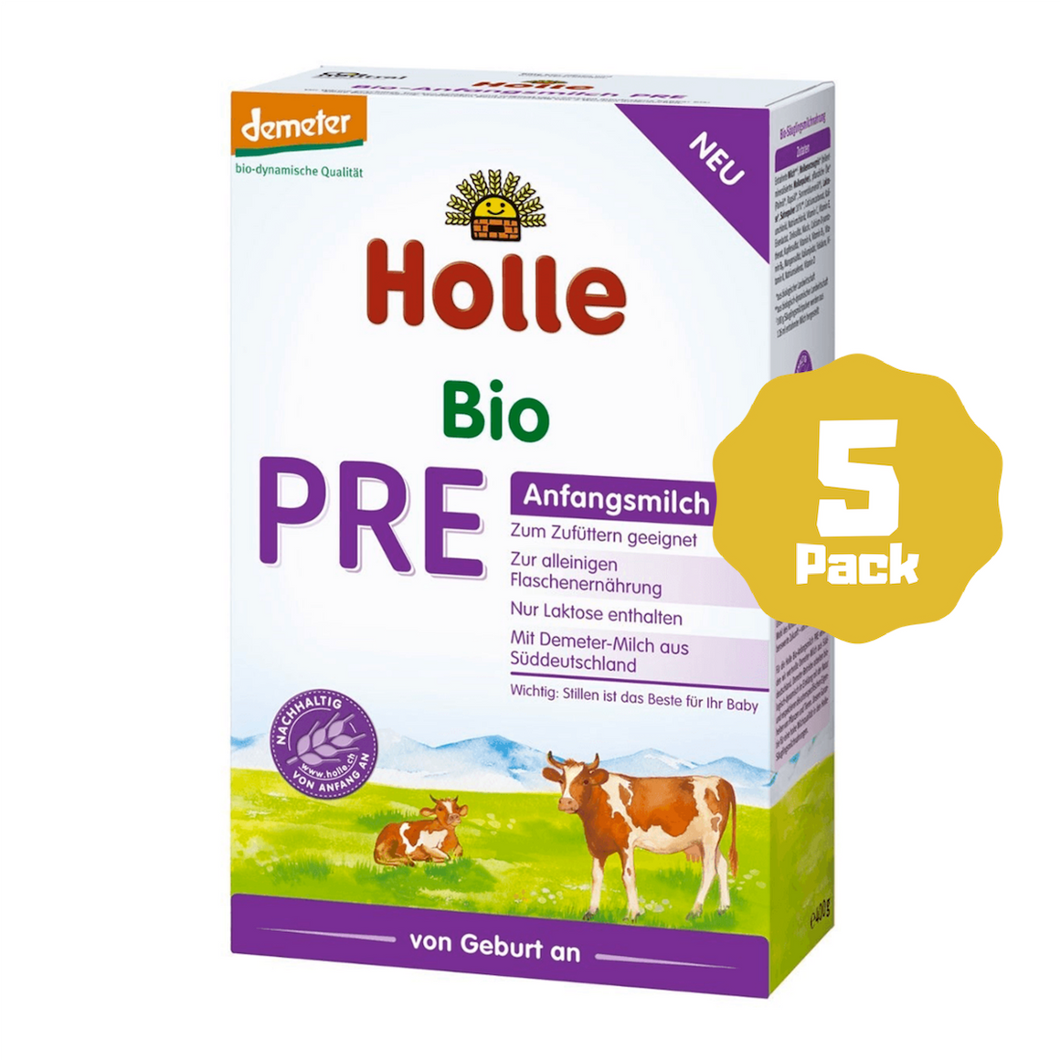 Holle Stage PRE Organic Infant Cow Milk Formula (0 Months+) (5 Pack)