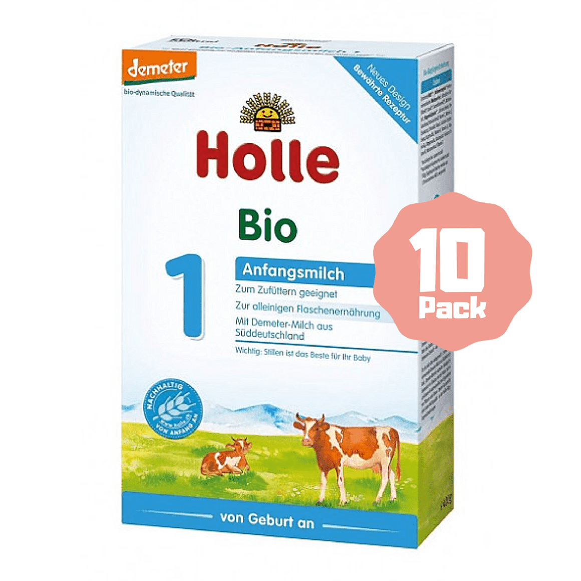Holle Stage 1 Organic Infant Cow Milk Formula (0 Months+) (10 Pack)