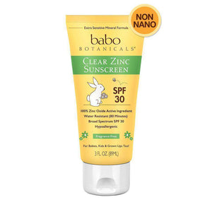 Babo Botanicals SPF 30 Clear Zinc Sunscreen Lotion, Fragrance Free (3 oz)