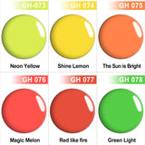 Neon Color Dip Powder Nail Kit G648 (6X0.6oz) Green/Yellow/Orange Color
