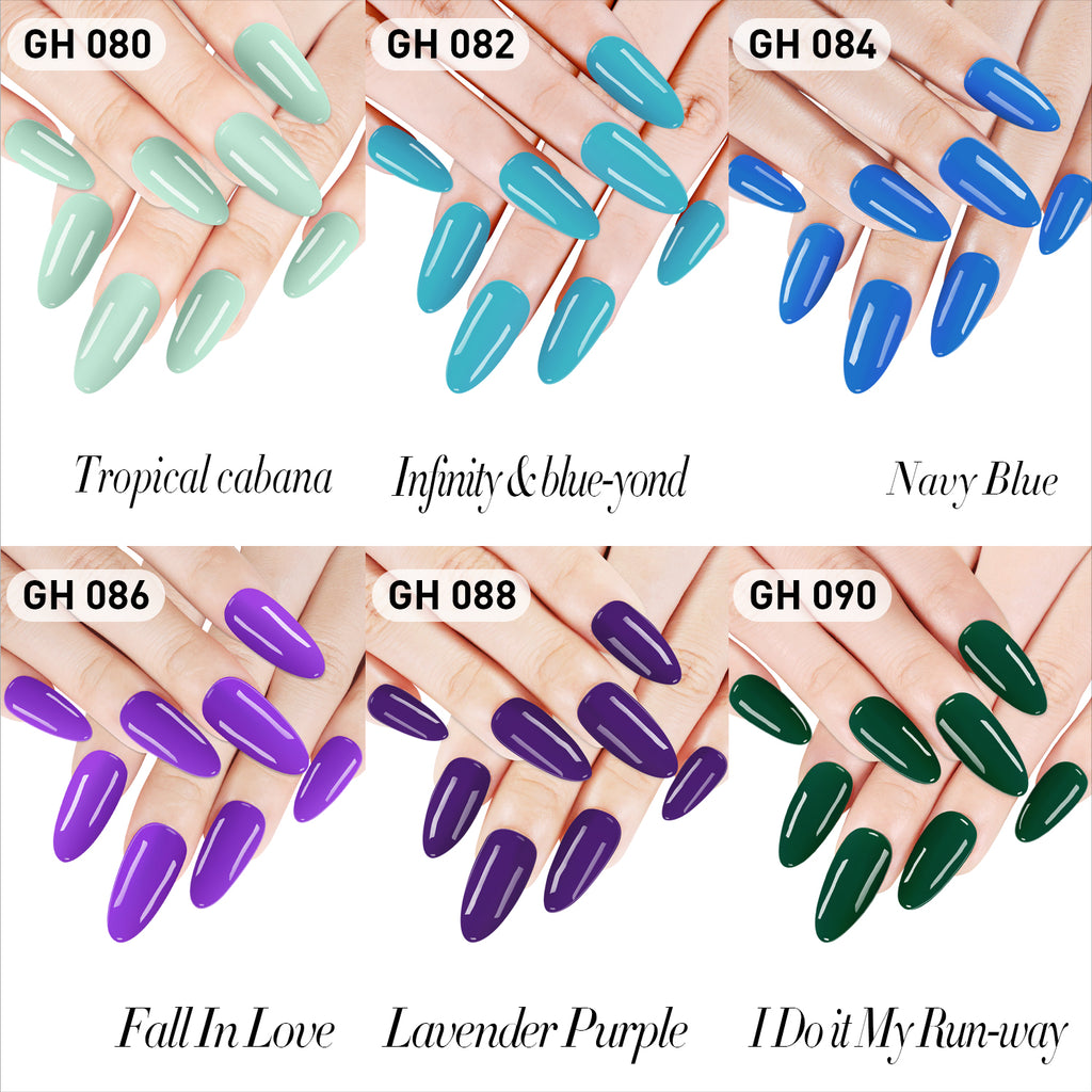 Dip Powder Nail Kit G649 (6X0.6oz) Blue/Green/Purple Colors