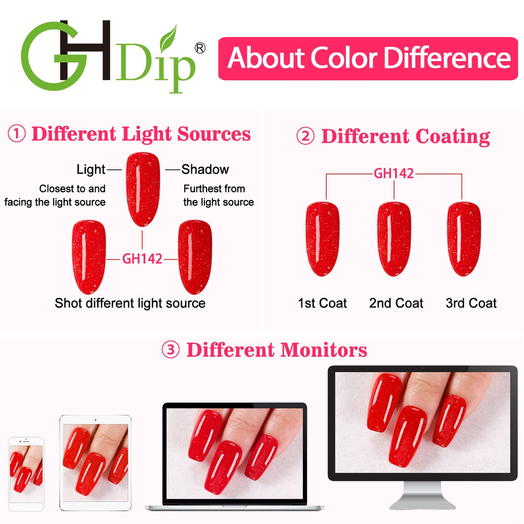 GHDip Dip Powder Nail Kit G6403(Shimmer Glitter Red Color)