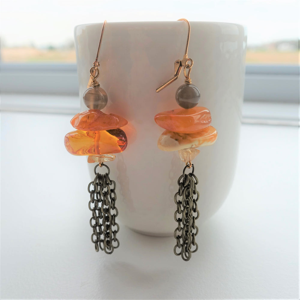 Amber and Agate Stone Brass Statement Earrings