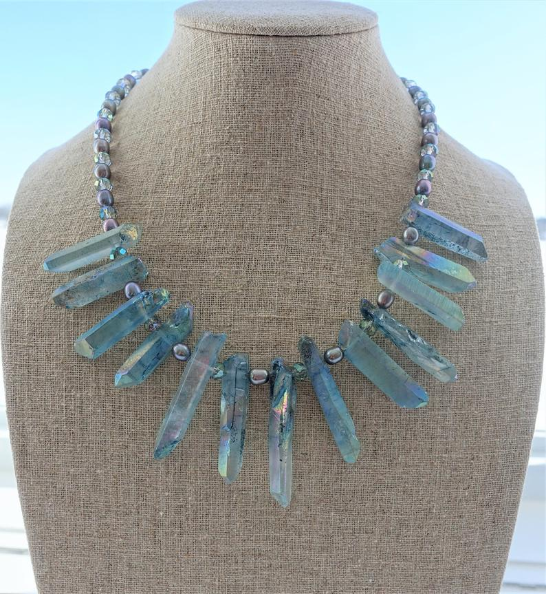 Blue Angel Aura Quartz Crystal Statement Necklace