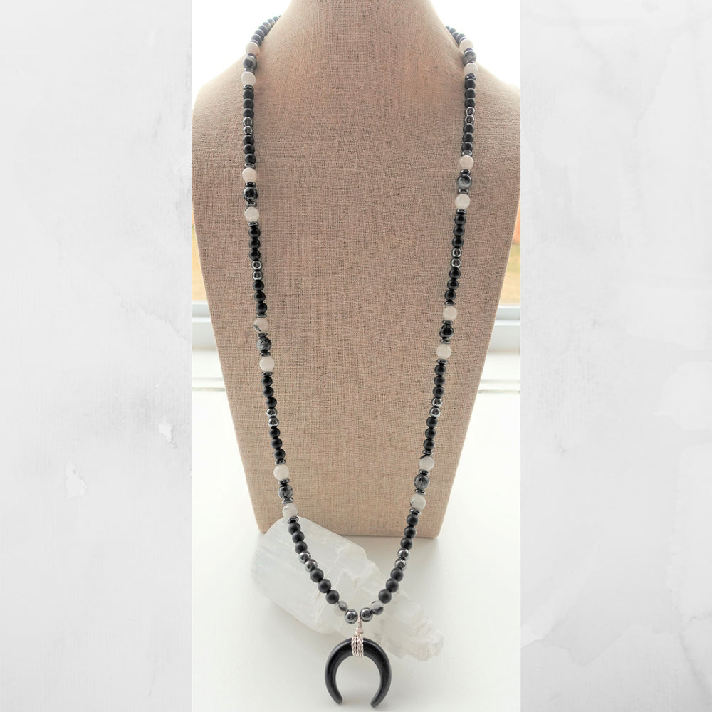 Black Obsidian Crescent Horn Moon Pendant Necklace