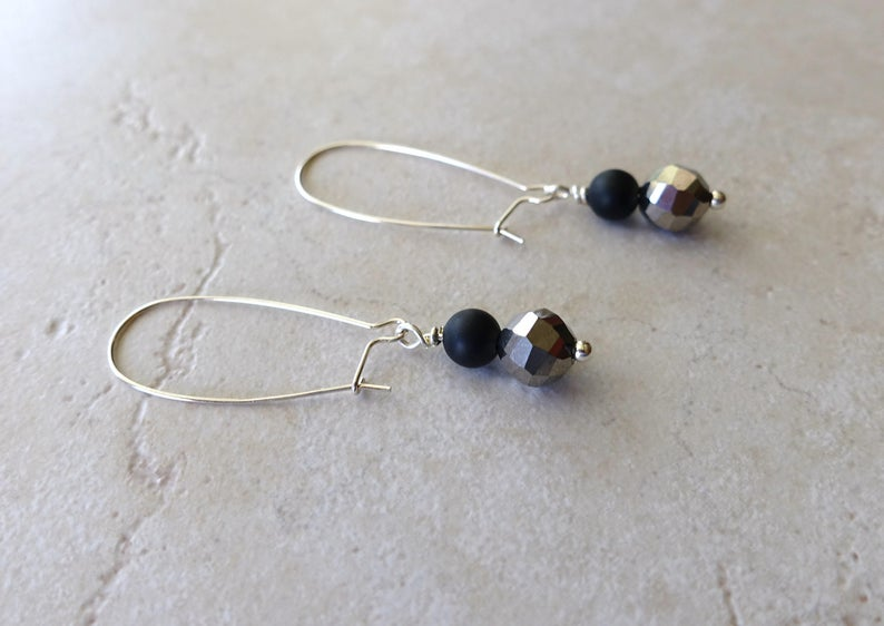 Black Onyx Sterling Silver Crystal Dangle Earrings