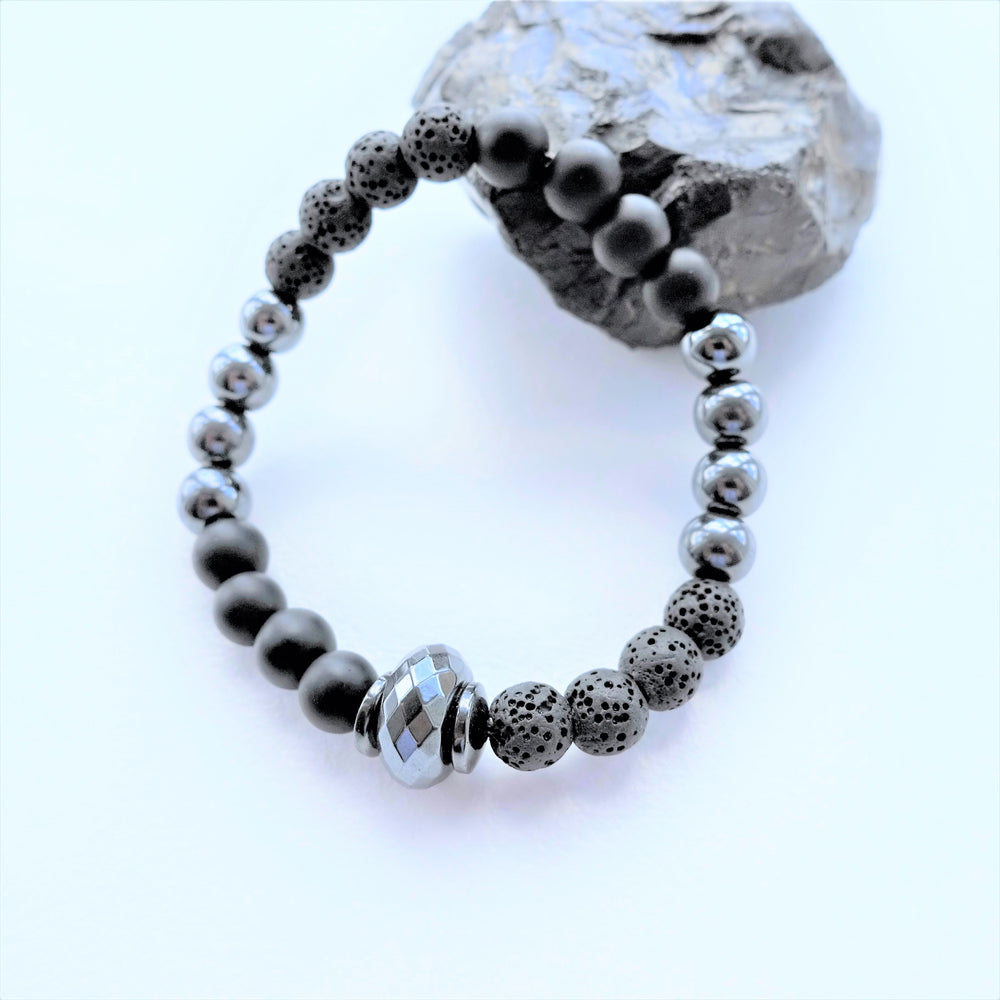 Black Lava Rock and Hematite Diffuser Bracelet