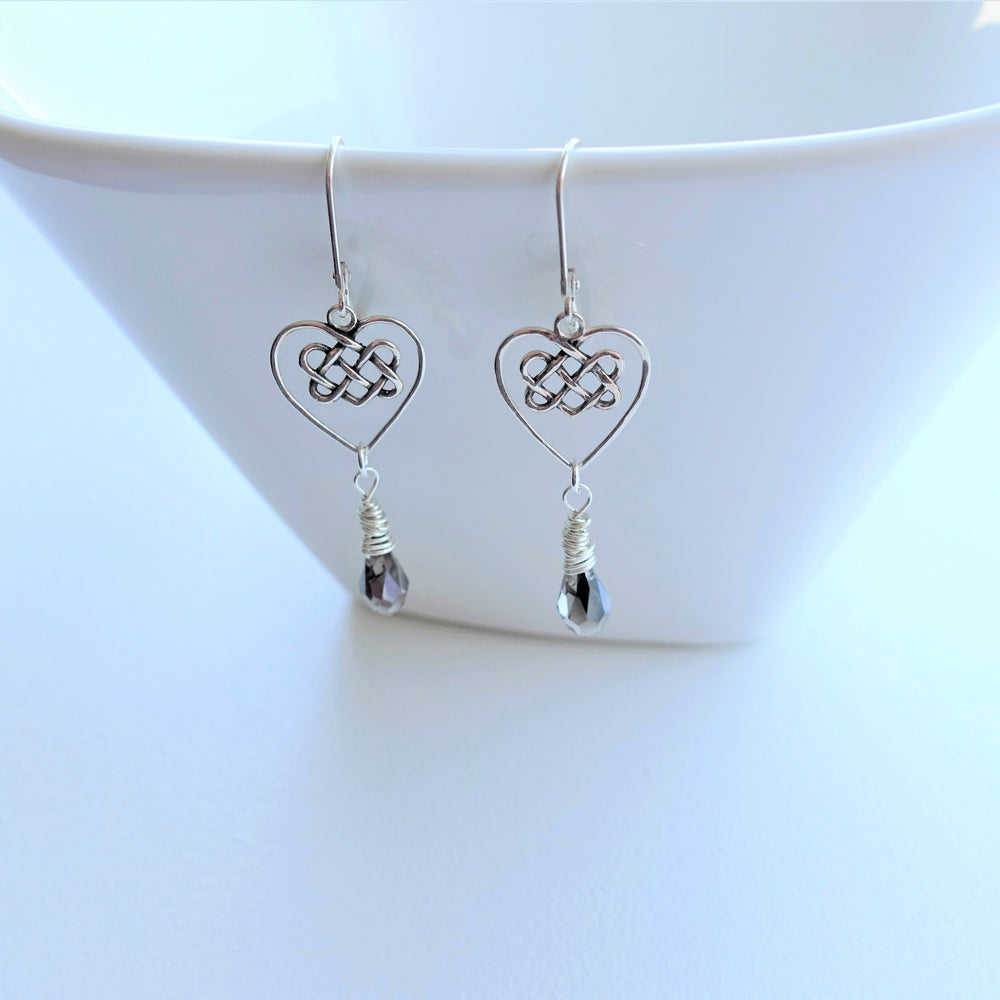 Infinity Knot Heart Charm Crystal Drop Earrings