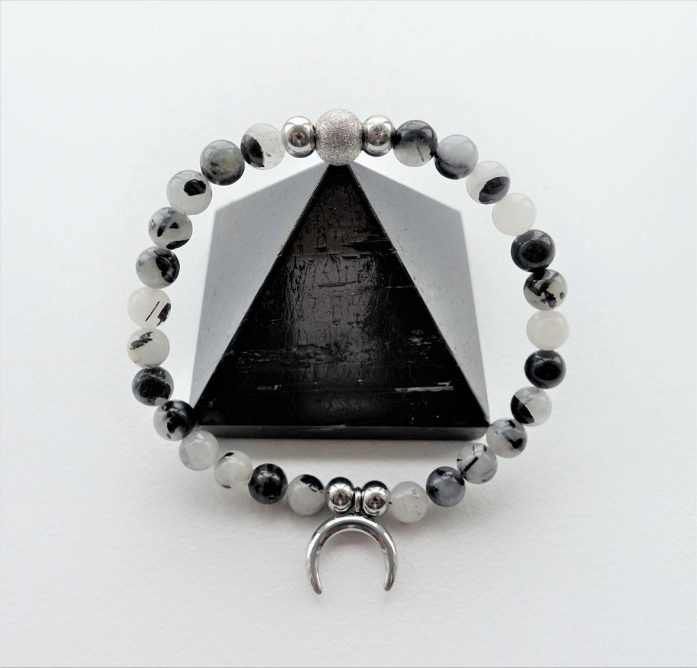 Crescent Horn Moon Tourmalinated Quartz Bracelet