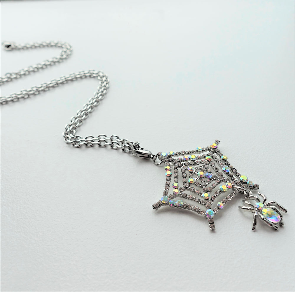 Long or Short Crystal Spider Web Pendant Necklace