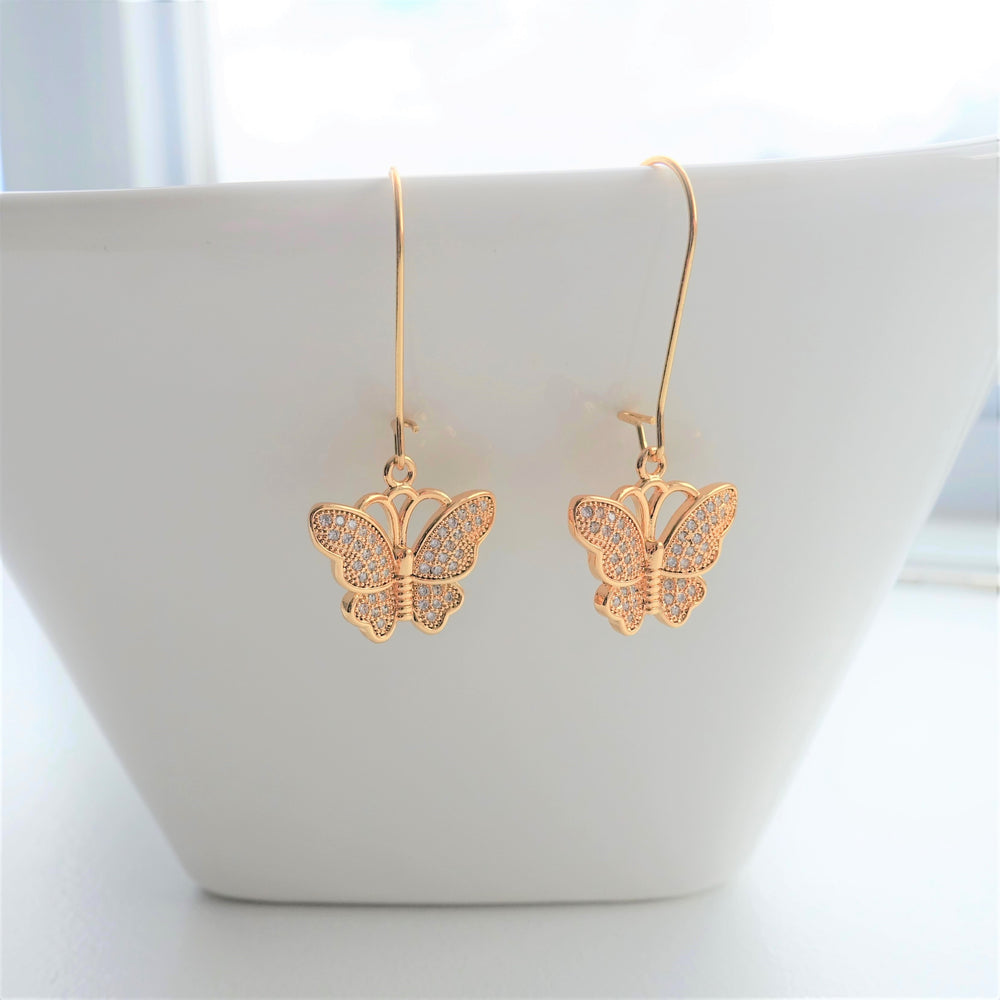 Gold Plated Butterfly Dangle Earrings