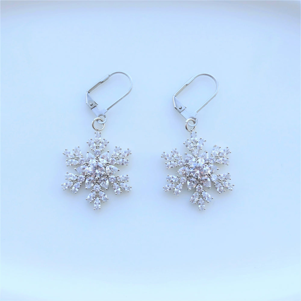 Clear Crystal Snowflake Statement Drop Earrings
